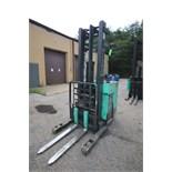 Mitsubishi Stand-Up Narrow Aisle Reach Forklift, M/N ESR36, S/N 1ESR360720, 2,850-3,500 lb.