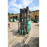 Mitsubishi Stand-Up Narrow Aisle Reach Forklift, M/N EDR36, S/N 1EDR360628, 3,000 lb. Lifting