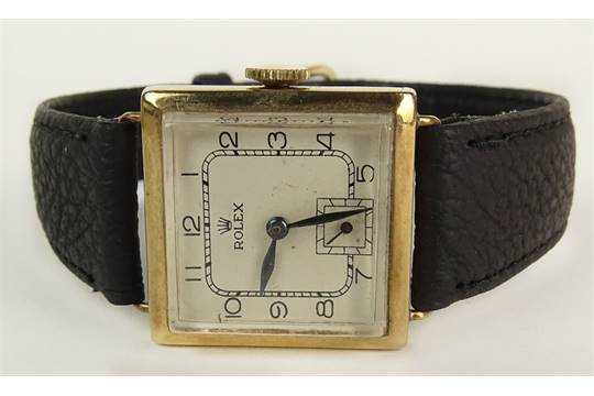 b1da0504d Rolex Art Deco Yellow Gold Square Manual Movement Watch with Leather ...