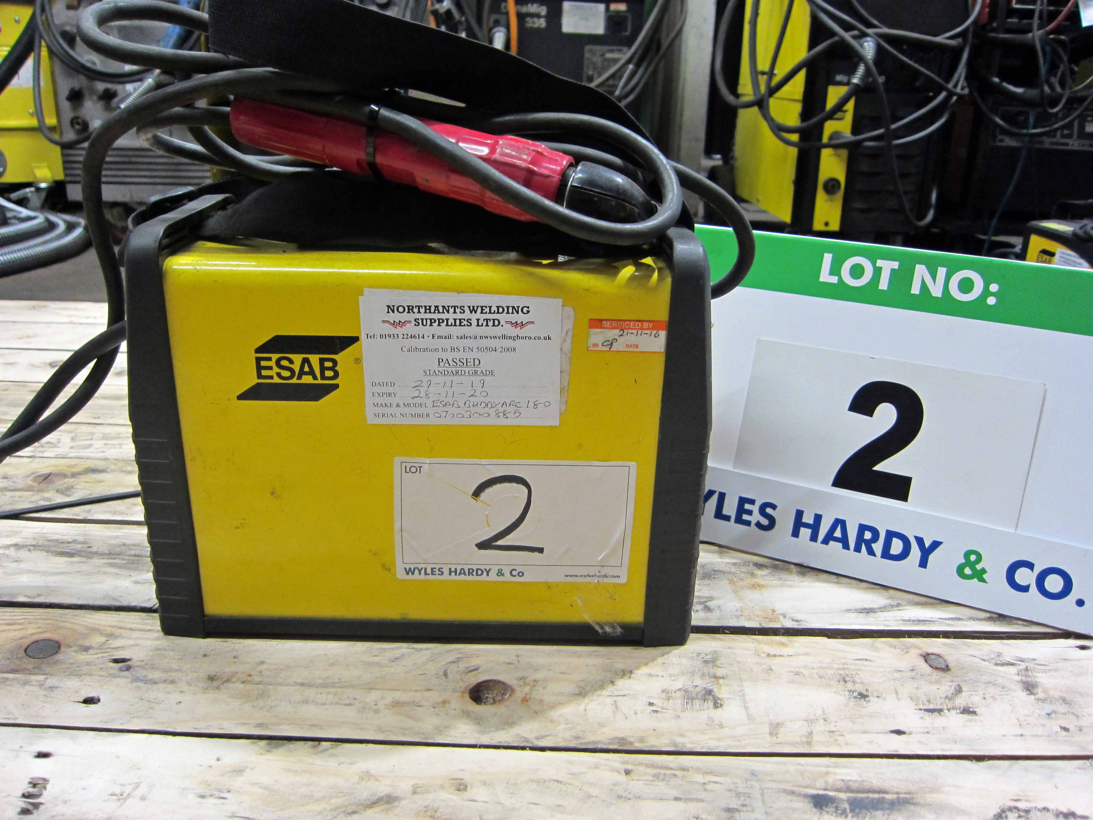 An ESAB Buddy Arc 180 240V Portable Arc Welder complete with Torch (Calibrated to November 2020) - Image 2 of 5