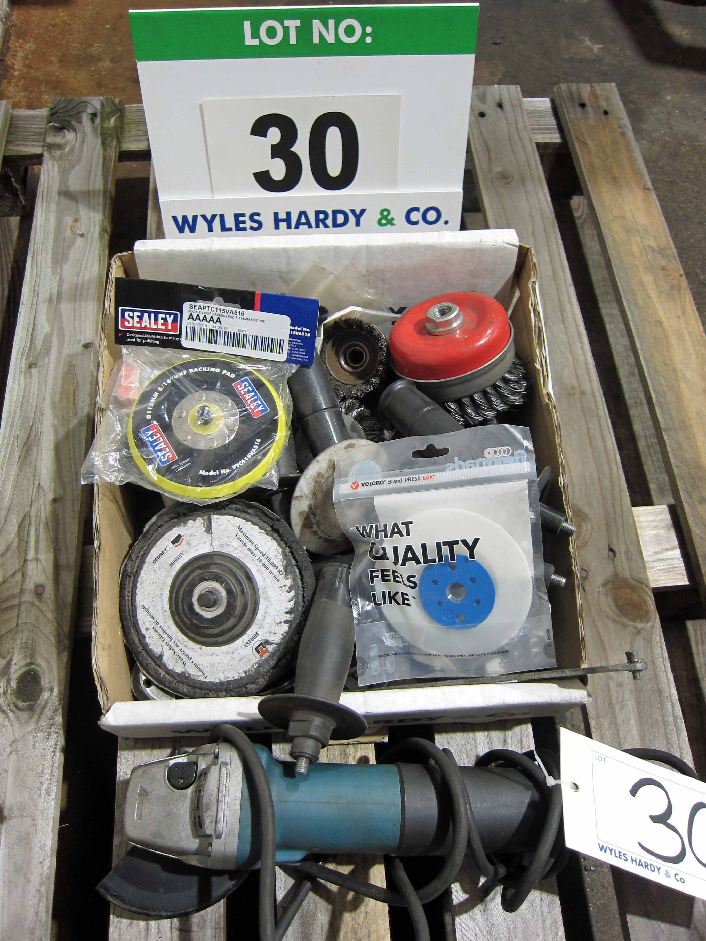A MAKITA 115mm 240V Angle Grinder (Not Working) and A Quantity of Assorted Angle Grinder Sundries, - Image 2 of 2
