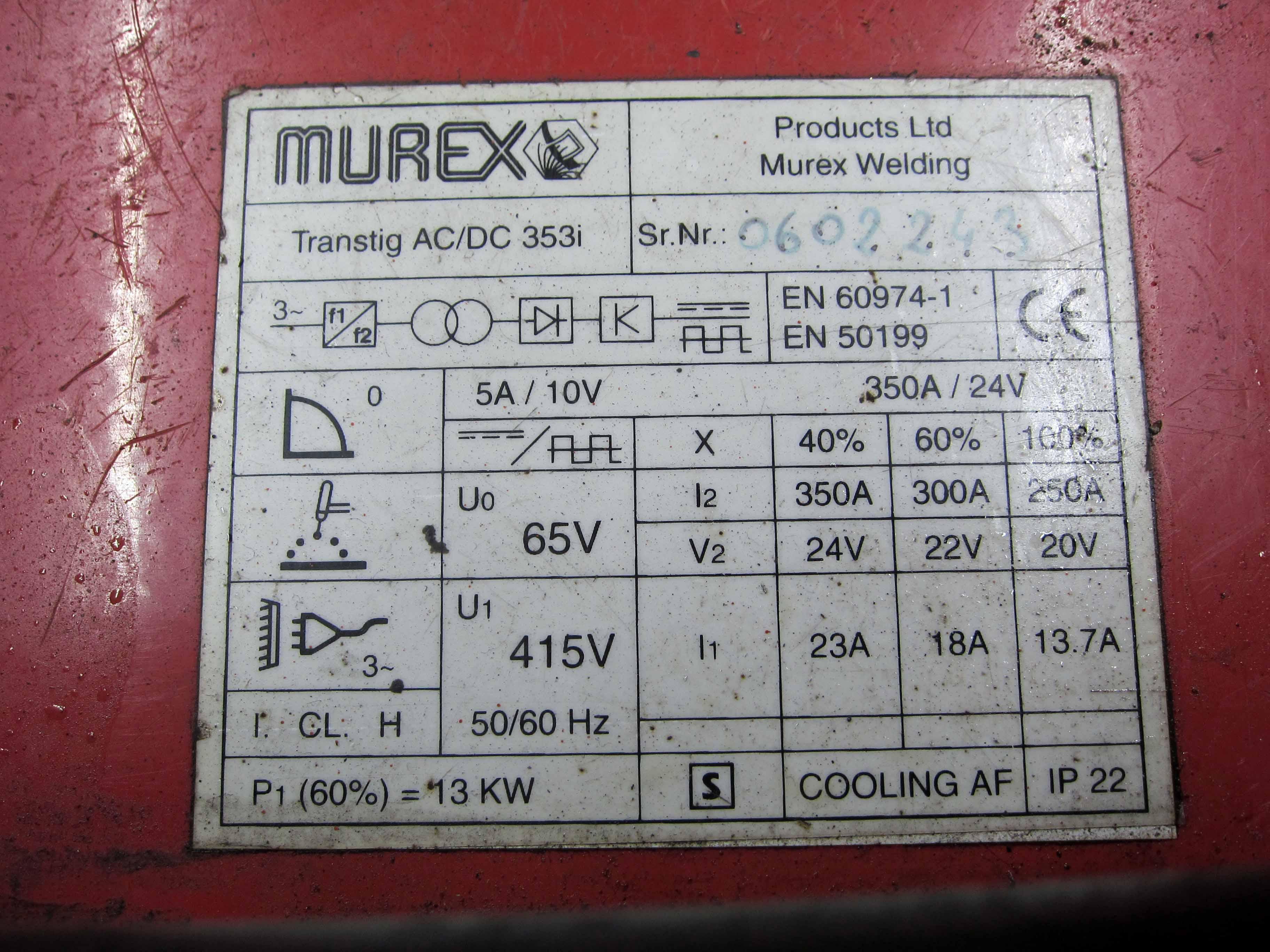 A MUREX Model Transtig AC/DC 353i Tig Welder, Serial No. 0602243, complete with MUREX Model TWCU, - Image 7 of 9