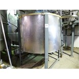 "s/s open top holding tank, approx. 70"" diam. x 48"" high straight side c/w loose s/s lid & steel"