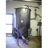 "s/s sterilizer tank, approx. 48"" diam. x 48"" high straight side c/w cone bottom & s/s legs. THE"