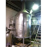 "s/s vertical mix tank, approx. 72"" diam. x 96"" high straight side c/w Lightnin 3 h.p. edge-mounted"