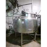 Crepaco s/s steam-jacketed dome-top processor kettle, ser. no. 0333, 75 PSIG. jacket, cone bottom