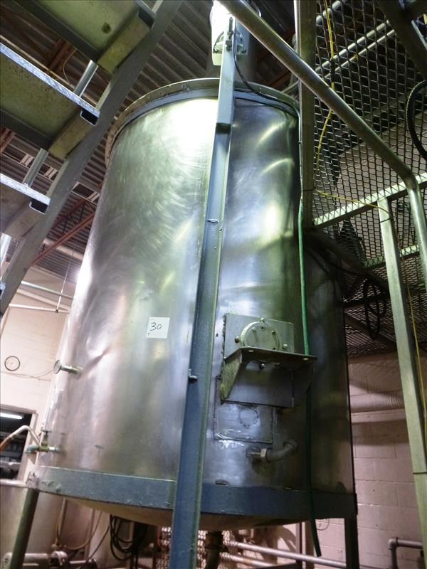 "Lot 30 - s/s vertical mix tank, approx. 72"" diam. x 96"" high straight side c/w Lightnin 3 h.p. edge-mounted"
