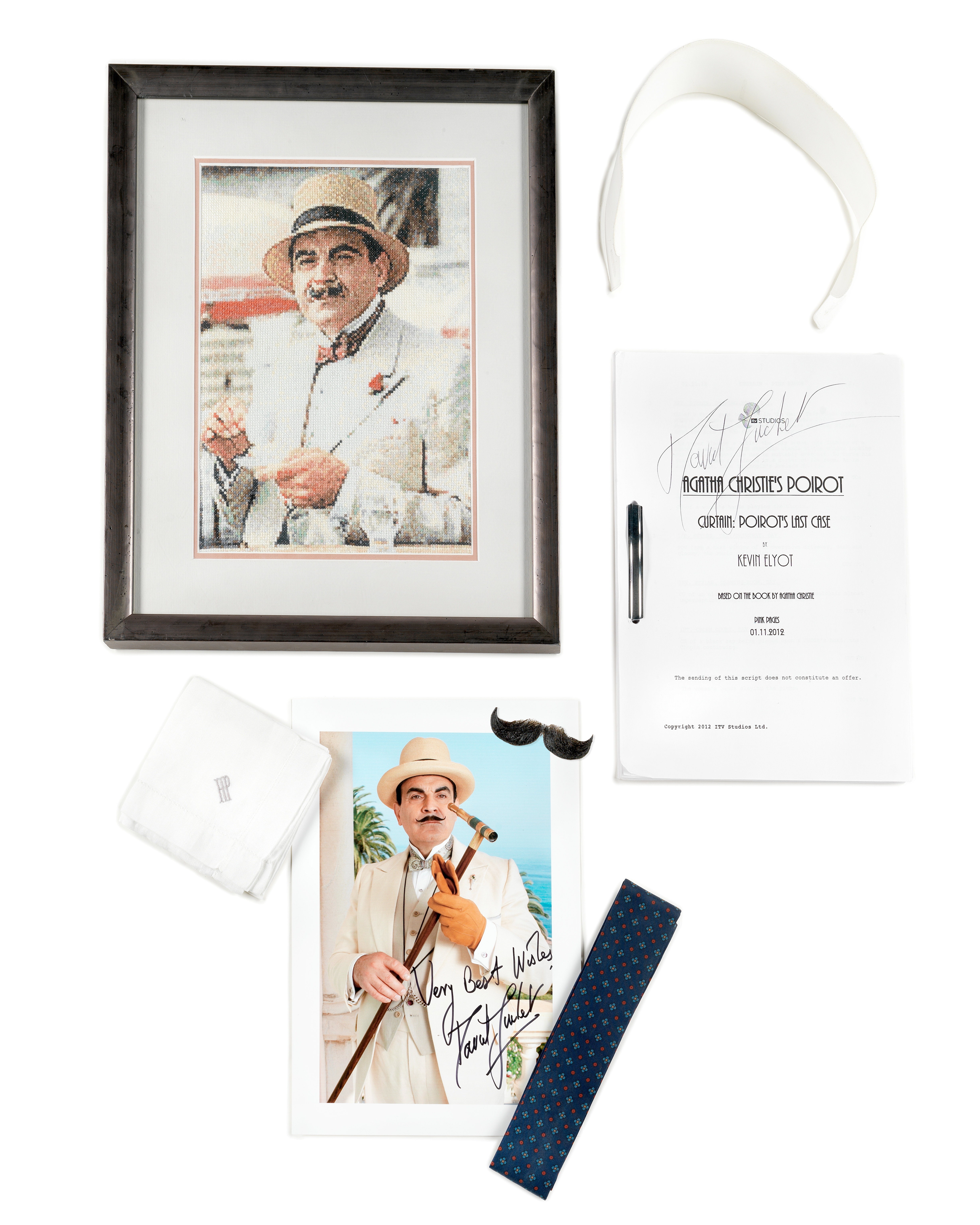 Poirot: A collection of memorabilia from David Suchet for his role as 'Hercule Poirot', ITV Studi...