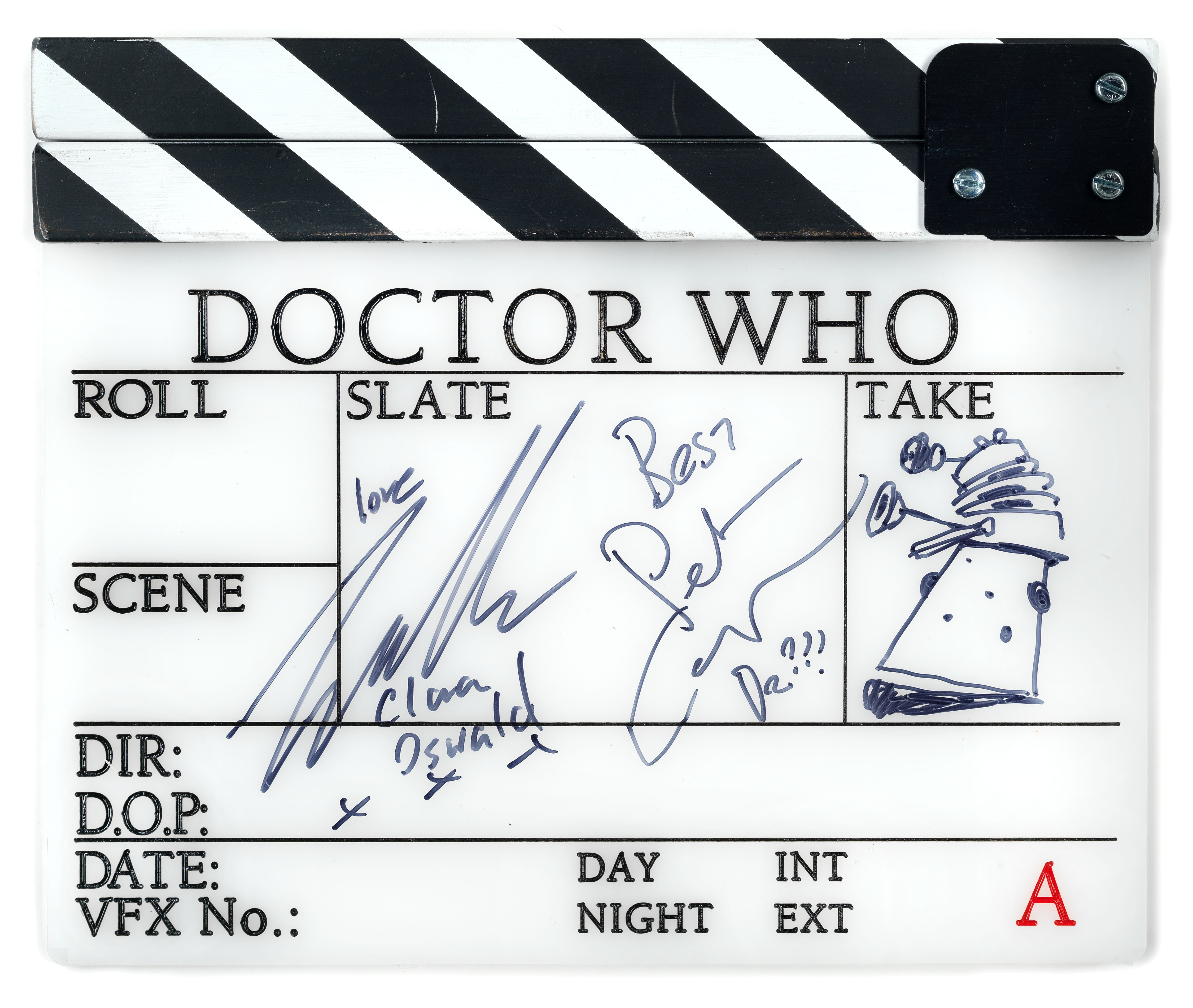 Doctor Who: An autographed A-Frame clapperboard from Series 9, BBC, 2015,
