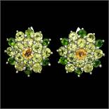 A pair of 925 silver earrings set with peridot, chrome diopside and citrines, Dia. 2cm.