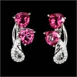 A pair of 925 silver earrings set with pink topaz and white stones, L. 2cm.