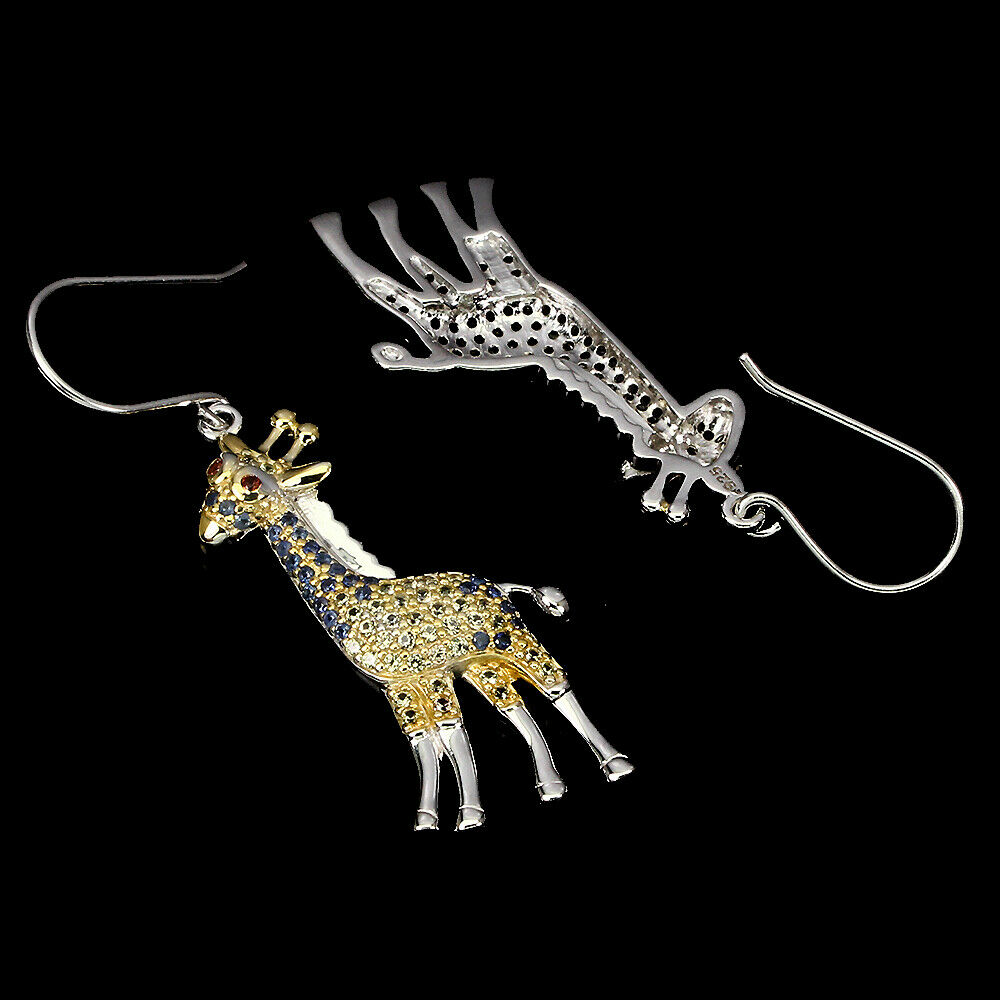 A pair of 925 silver giraffe shaped drop earrings set with sapphires and fancy yellow sapphires, - Image 2 of 2