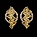 A pair of 925 silver rose gold gilt drop earrings set with round cut citrines and white stones, L.