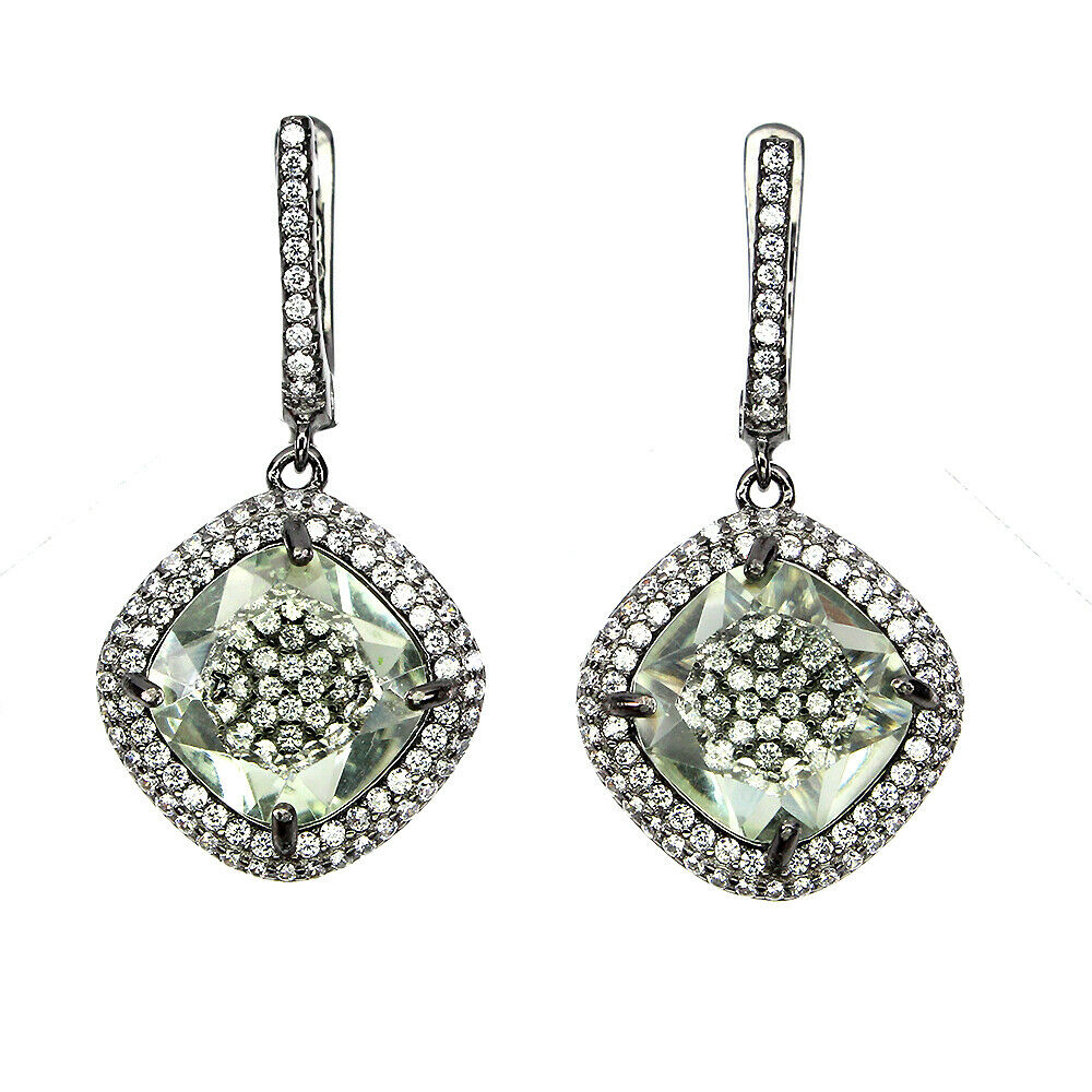 A pair of 925 silver drop earrings set with cushion cut green amethysts and white stones, L. 3.3cm.