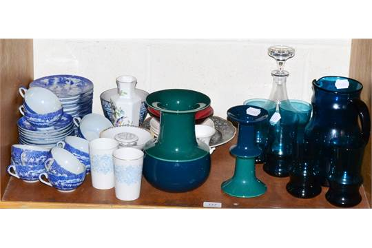 Rosenthal Studio Line Vase And Candlestick Blue Glass Water Set