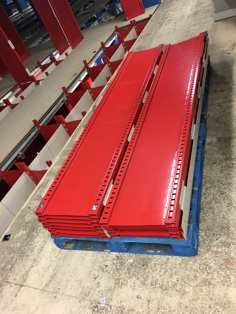 """Lot 25 - 26 SECTIONS OF HALLOWELL H-POST CLOSED BACK SHELVING, SIZE:98.5""""H X 18""""D X 36""""W WITH 5 SHELVES EACH"""