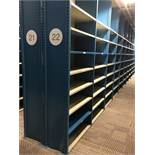 """52 SECTIONS OF HALLOWELL H-POST CLOSED SHELVING, SIZE : 98""""H X 18""""D X 36""""W WITH 5 SHELVES EACH"""