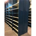 """26 SECTIONS OF HALLOWELL H-POST CLOSED BACK SHELVING, SIZE : 98""""H X 18""""D X 36""""W WITH 5 SHELVES EACH."""