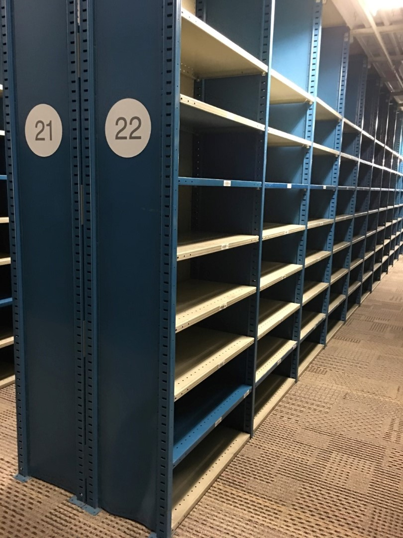 """Lot 33 - 26 SECTIONS OF HALLOWELL H-POST CLOSED BACK SHELVING, SIZE : 98""""H X 18""""D X 36""""W WITH 5 SHELVES EACH."""