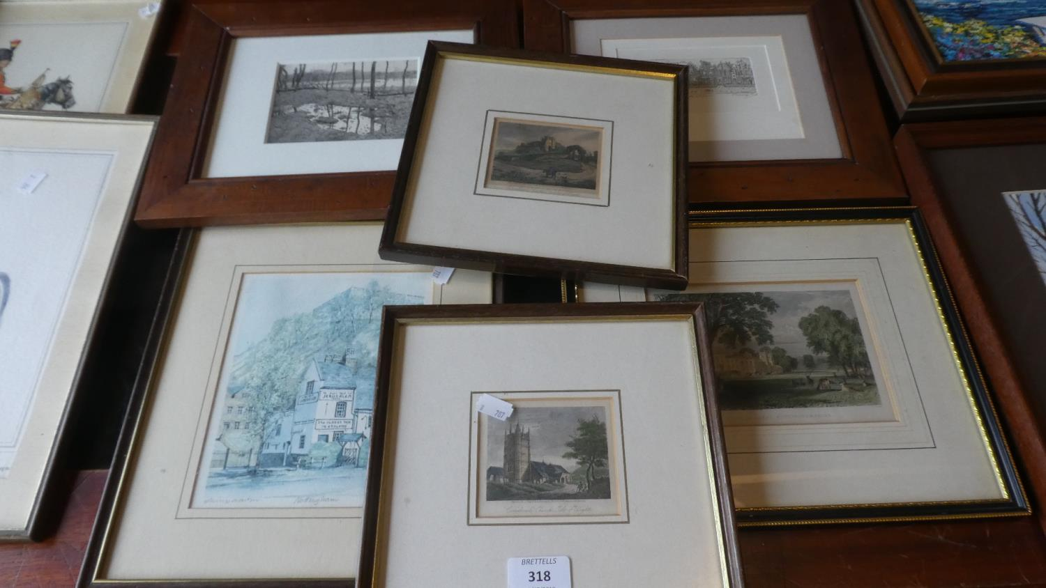 Lot 318 - A Collection of Six Framed Prints and Coloured Etchings