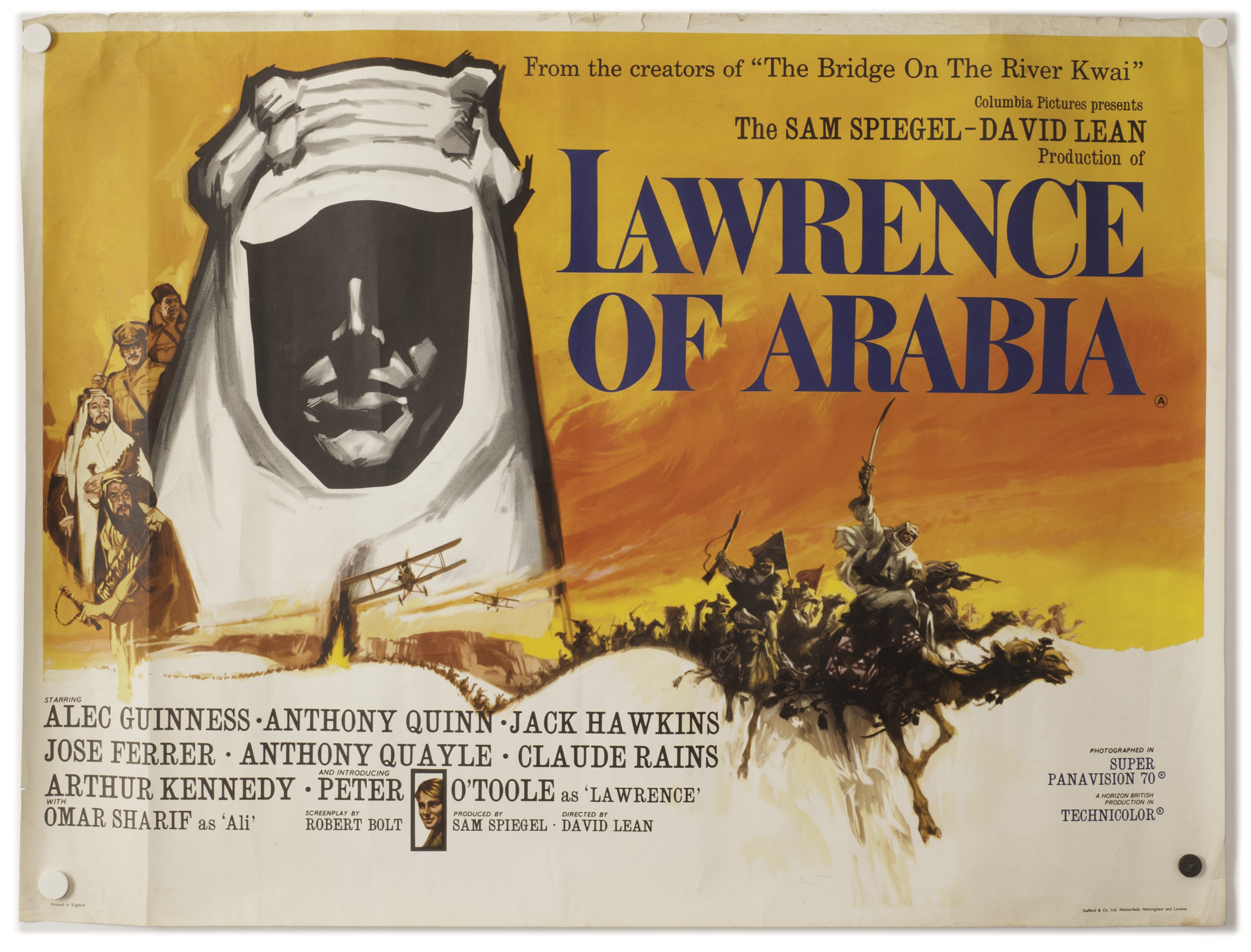 Lot 335 - Lawrence Of Arabia: Original UK quad poster for the 1962 film