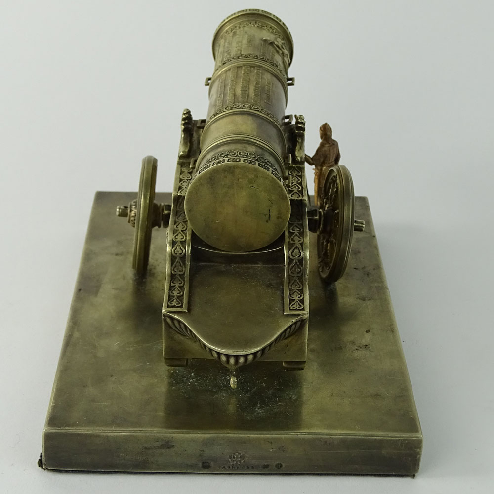Lot 52A - Russian Sazikov Silver Model Of The Tsar Canon. On rectangular base, realistically cast and