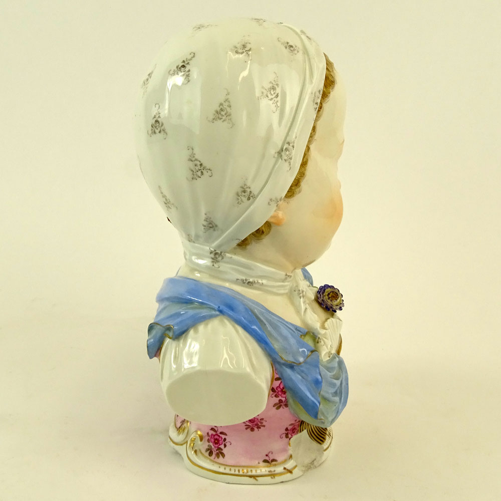 19th Century Meissen Porcelain Young Girl Bust. Marked to base. Losses. Please examine this lot - Image 5 of 7
