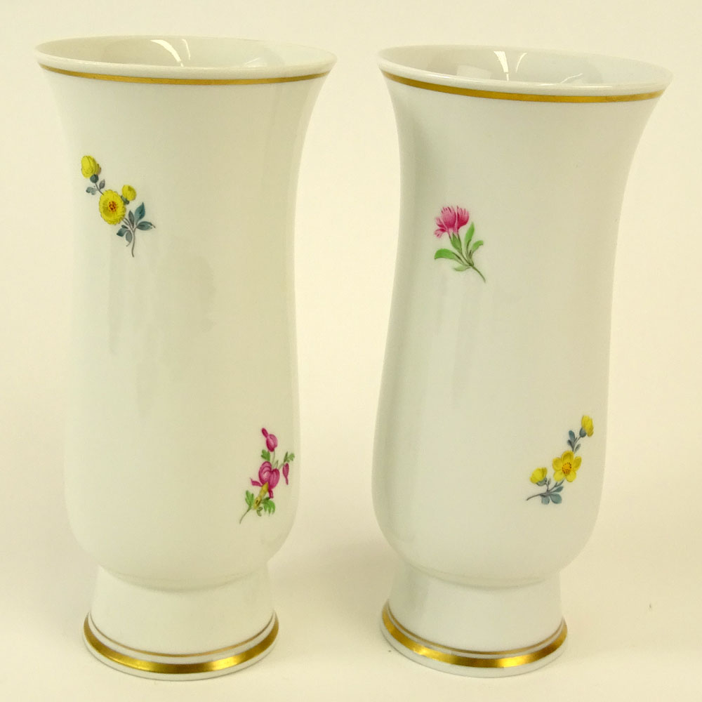 Pair of Meissen Hand Painted Porcelain Vase. Floral motif. Signed with crossed swords marks. Good - Image 4 of 7