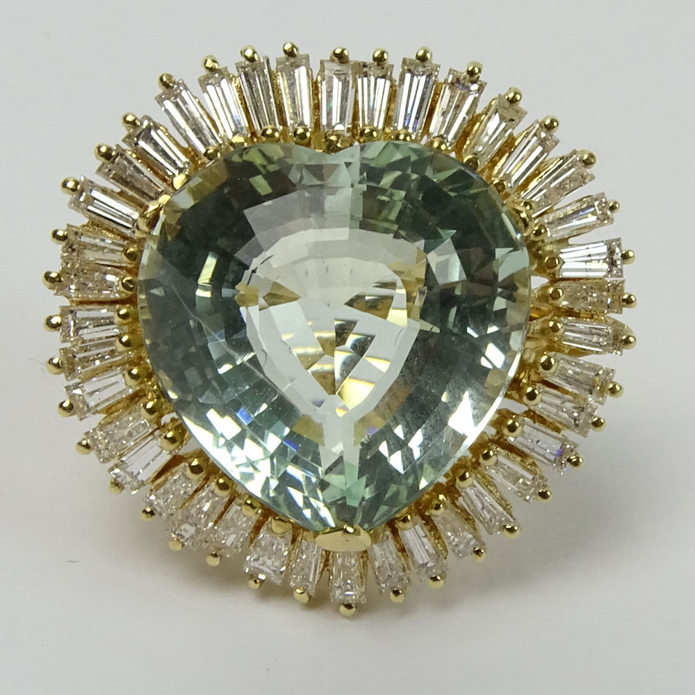 Vintage Approx. 25.0 Carat Heart Shape Aquamarine, 2.5 Carat Baguette Diamond and 14K Yellow Gold - Image 2 of 6