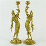 Pair of 19/20th Century French Egyptian Revival Gilt Bronze Figural Candlesticks. Unsigned. Good