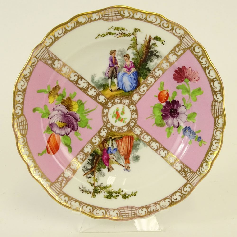 Meissen Hand Painted Porcelain Plate. Decorated with floral and romantic courting scenes. Signed