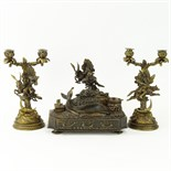Lansere, Russian (1875-1946) Bronze figural 3 piece desk set. Includes two, 2 light candelabra and
