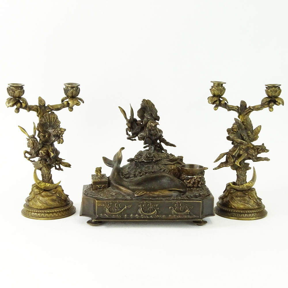 Lot 52B - Lansere, Russian (1875-1946) Bronze figural 3 piece desk set. Includes two, 2 light candelabra and
