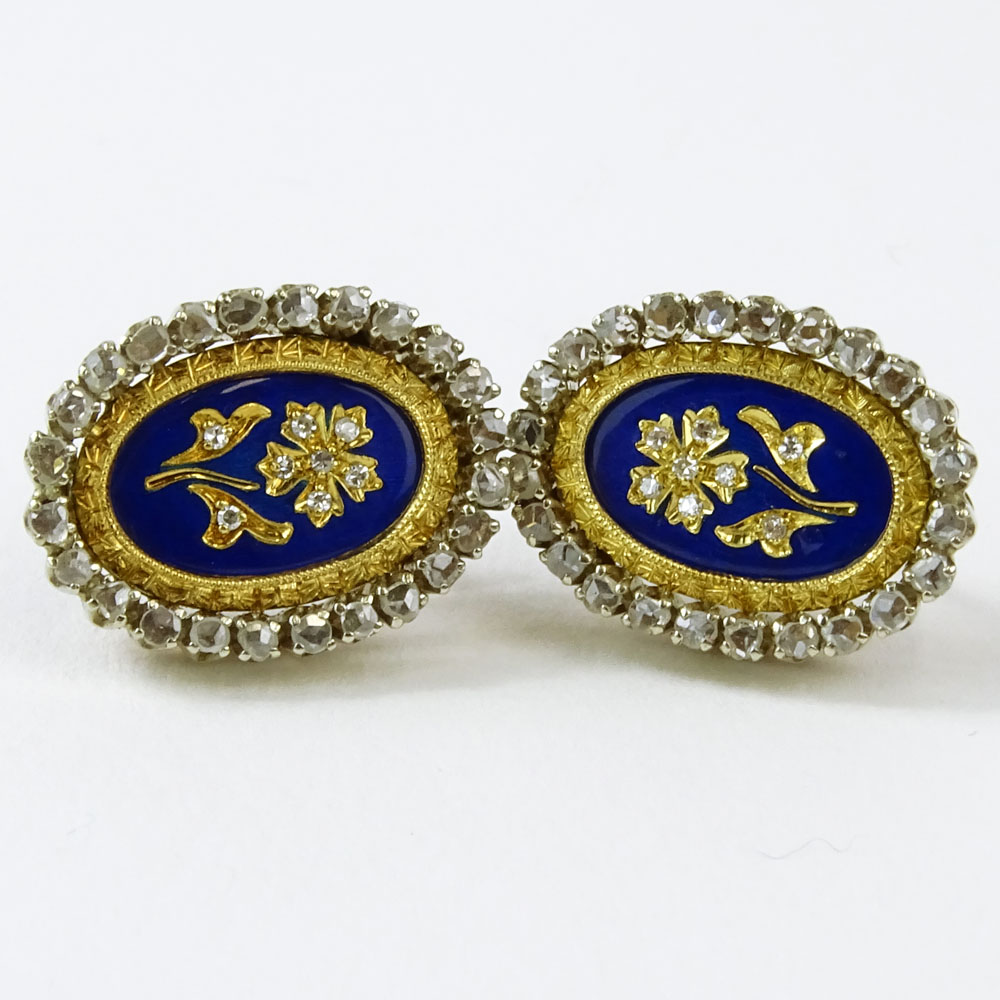 Lot 31D - Pair of Circa 1890 Victorian 14 Karat Yellow Gold, European Cut Diamond and Enamel Earrings.