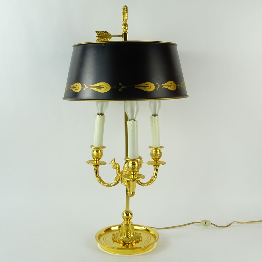 Mid 20th Century French Empire style Bouillotte Lamp with Tole Shade. Unsigned. Good condition.