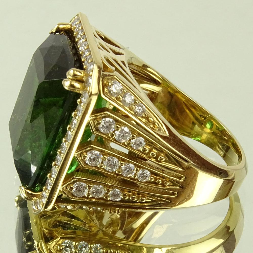 Approx. 22.0 Carat Emerald Cut Tourmaline, 2.0 Carat Diamond and 18 Karat Yellow Gold Ring. - Image 2 of 6