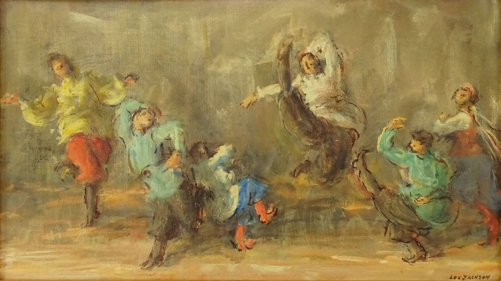 "Lee Jackson, American (1909 - ) Oil on canvas board 'Russian Festival Dancers"" Signed lower right."