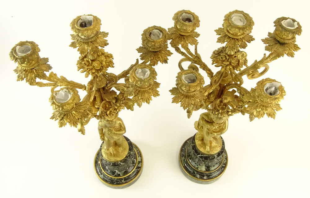 Early 20th Century Gilt Bronze and Serpentine Marble Five Light Candelabra. Unsigned. Very good - Image 2 of 6
