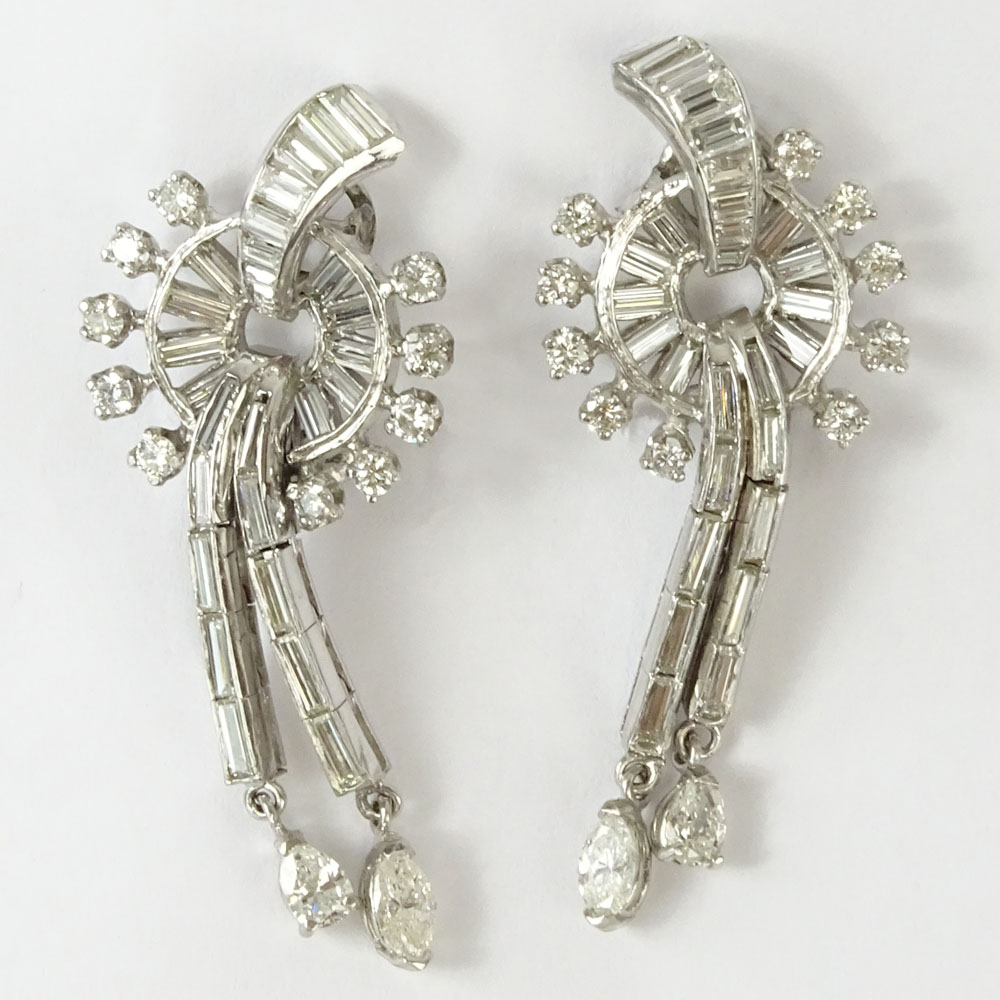 Lot 31F - Pair of Circa 1920's Art Deco Approx. 4.0 Carat Diamond and Platinum Earrings. Diamonds E-F color,