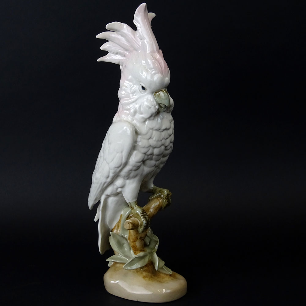 "Lot 44 - Royal Dux Porcelain Cockatoo Figurine. Signed. Very good condition. Measures 16"". Shipping $85.00"