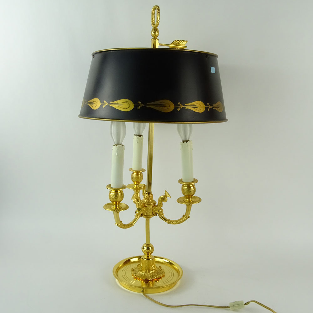Mid 20th Century French Empire style Bouillotte Lamp with Tole Shade. Unsigned. Good condition. - Image 4 of 6