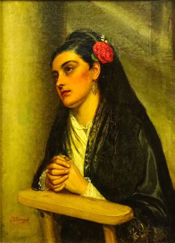 "Lot 55 - John Bagnold Burgess, British (1830-1897) Oil on canvas ""At Prayer"" Signed lower left JB Burgess."