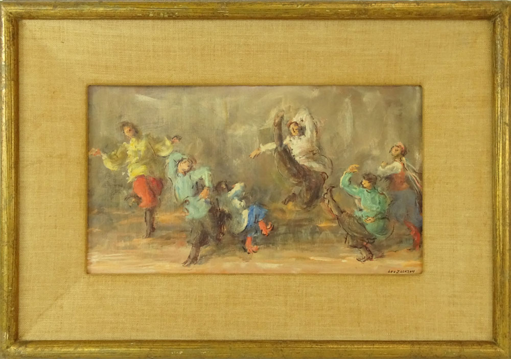 "Lee Jackson, American (1909 - ) Oil on canvas board 'Russian Festival Dancers"" Signed lower right. - Image 2 of 5"