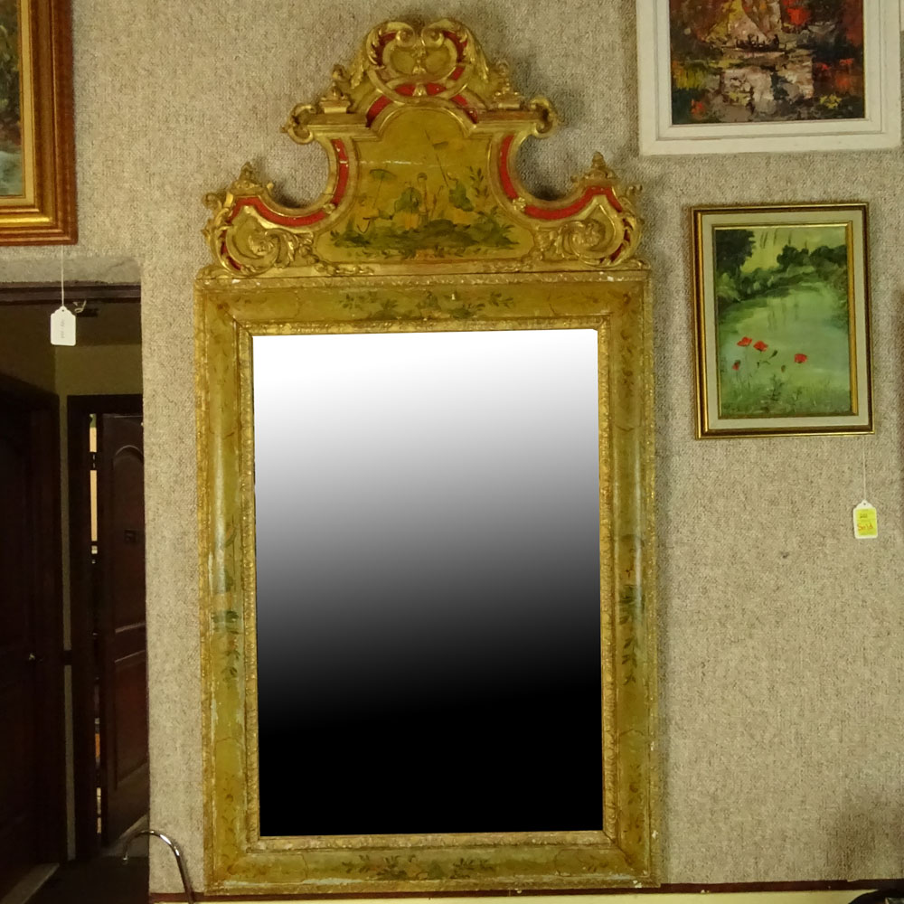 Lot 30 - 19/20th Century Italian carved, painted and parcel gilt Chinoiserie Style mirror. Unsigned. Age