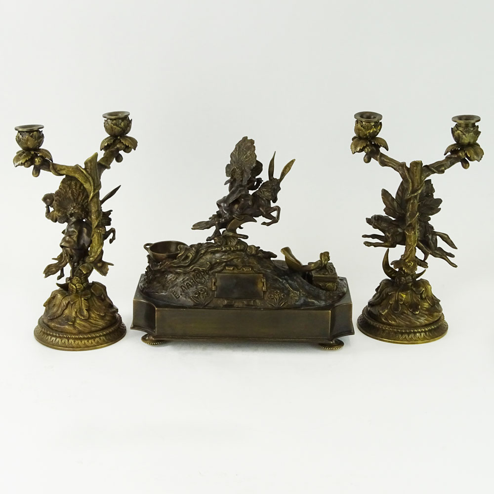 Lansere, Russian (1875-1946) Bronze figural 3 piece desk set. Includes two, 2 light candelabra and - Image 3 of 9