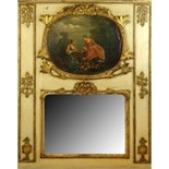 18/19th Century French Louis XVl style Painted and Parcel Gilt Trumeau. Unsigned. Losses, surface