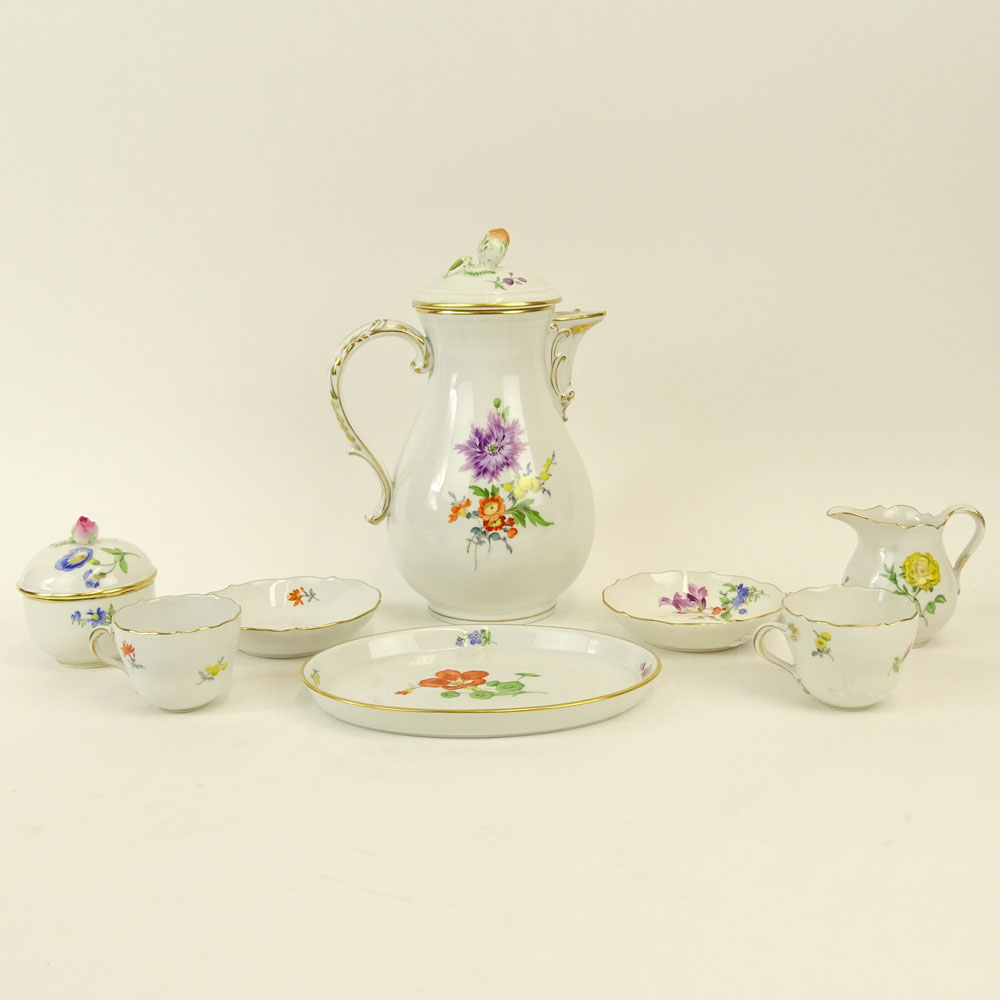 "Meissen Hand Painted Porcelain Partial Tea/Coffee Service. Includes: Pot, 9-1/2""; covered sugar,"