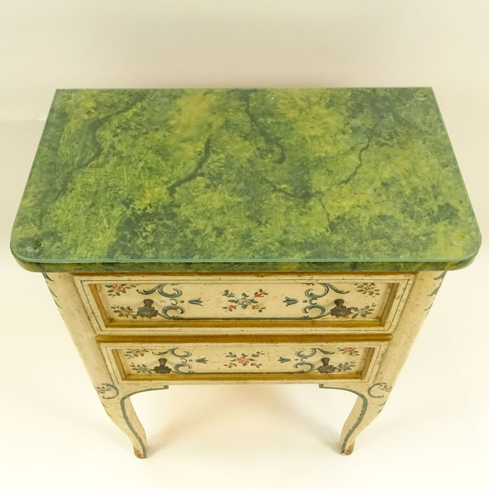 Mid 20th Century Probably Italian Painted and Parcel Gilt 2 drawer small commode with faux marble - Image 3 of 3