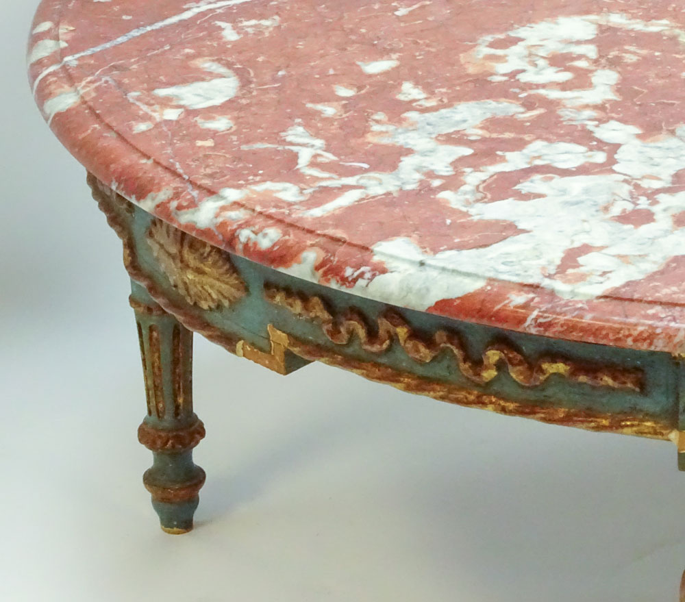 Lot 25 - 19/20th Century carved painted parcel gilt wood coffee table with marble top. Unsigned. Rubbing,