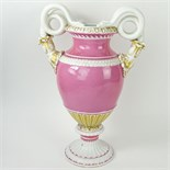Large Meissen Snake Handle Porcelain Bolted Urn in Pink White and Parcel Gilt. Signed with crossed